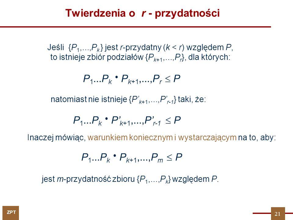 ZPT Wracamy do przykładu (z książki SUL) x1x2x3x4x5x1x2x3x4x5 y1y2y3y1y2y3 1 2 3 4 5 6 7 8 9 10 11 12 13 14 15 000000001100010011000110101110010001100011010111001111111110100011001110010000000001100010011000110101110010001100011010111001111111110100011001110010 000010100011001010001001000100011010001000100000010100011001010001001000100011010001000100 P 1 = P 2 = P 3 = P 4 = P 5 = P F = r = 4 r = 3 r = 4 22 Jak policzymy r-przydatności dla każdego P i