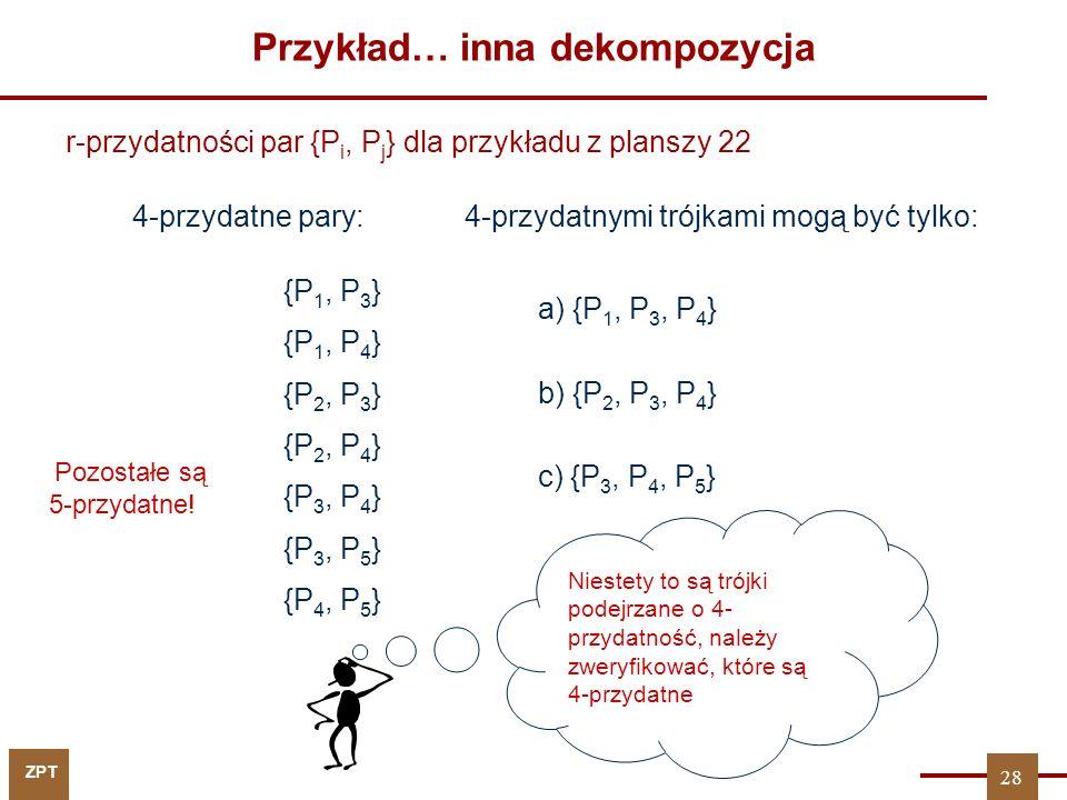 ZPT Przykład… inna dekompozycja W tym celu liczymy odpowiednie iloczyny podziałów P 1P 3P 4 = P 2P 3P 4 = P 3P 4P 5 = {P 1, P 3, P 4 } oraz {P 3, P 4, P 5 }.czyli wyłącznie są 4-przydatne r{P 1, P 3, P 4 } = 3 + log 2 2 = 4 29