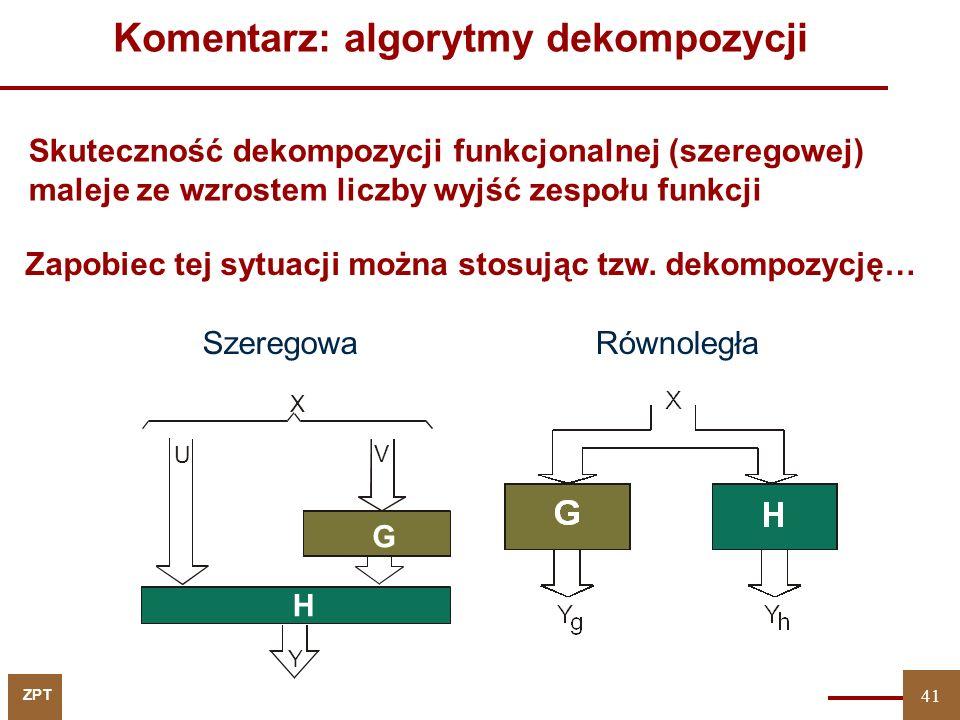 ZPT 42 Dekompozycja równoległa… X Y F Y = Y g Y h XhXh H XgXg YgYg G X YhYh 42 Rozłączne podzbiory wyjść… Do rozwiązania tego problemu można zastosować redukcję argumentów