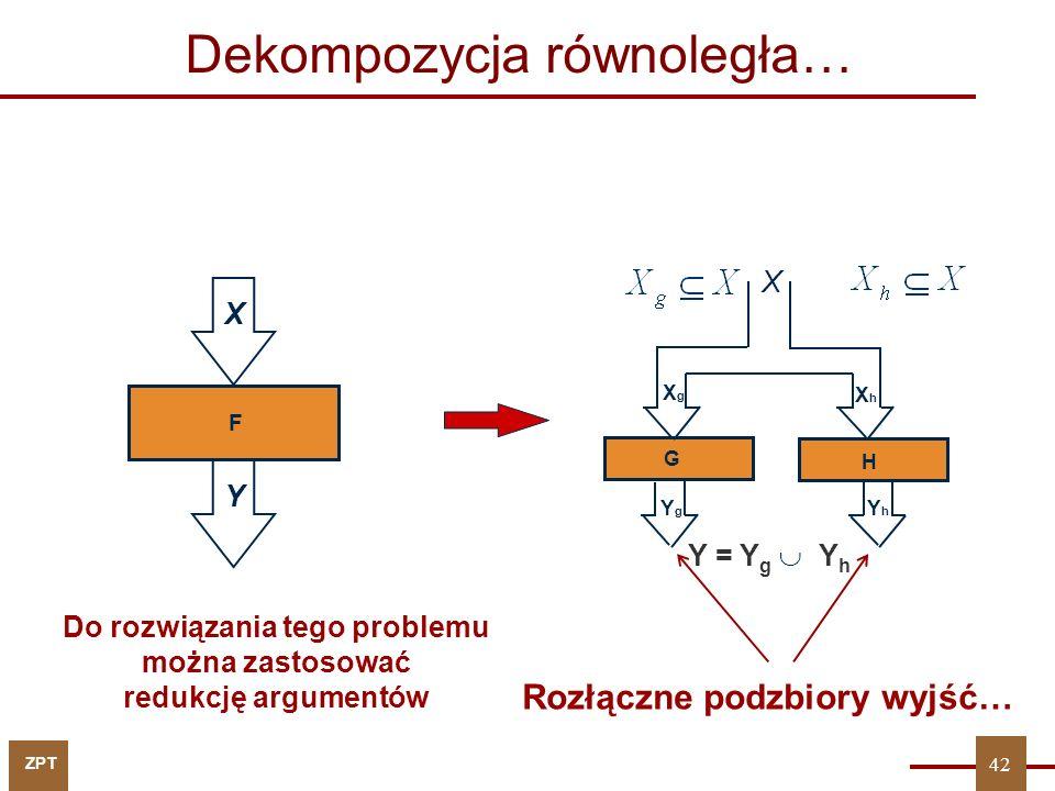 ZPT 43 y 1 : {x 1, x 2, x 6 } y 2 : {x 3, x 4 } y 3 : {x 1, x 2, x 4, x 5, x 8 } {x 1, x 2, x 4, x 6, x 8 } y 4 : {x 1, x 2, x 3, x 4, x 7 } y 5 : {x 1, x 2, x 4 } y 6 : {x 1, x 2, x 6, x 8 } Dekompozycja równoległa - przykład 43