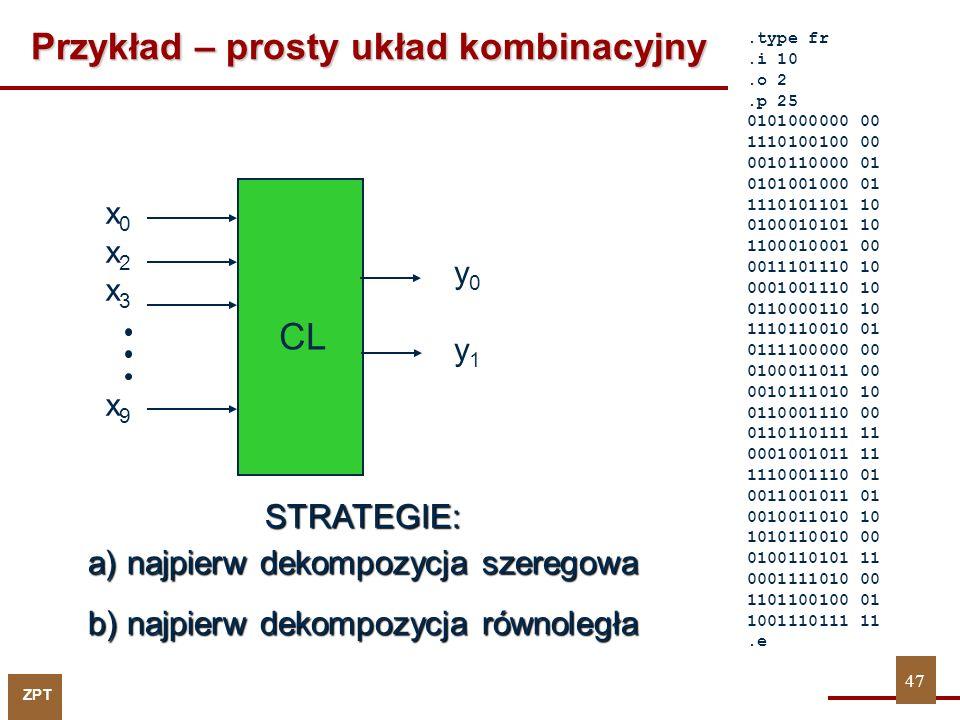 ZPT Dekompozycja funkcji F STRATEGIA: najpierw dekompozycja szeregowa LC y0y0 x 8 x 9 x 1 x 3 x 4 x 6 2LCs x 0 x 2 x 5 x 7 Dekompozycja szeregowa Dekompozycja równoległa 2LCs LC y1y1 Łącznie: 7 komórek Dekompozycja szeregowa 48