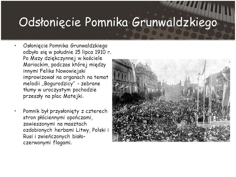 Odsłonięcie Pomnika Grunwaldzkiego Osłonięcie Pomnika Grunwaldzkiego odbyło się w południe 15 lipca 1910 r.