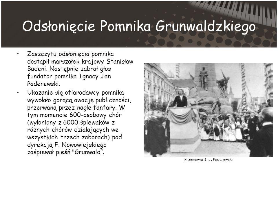Odsłonięcie Pomnika Grunwaldzkiego Zaszczytu odsłonięcia pomnika dostąpił marszałek krajowy Stanisław Badeni.