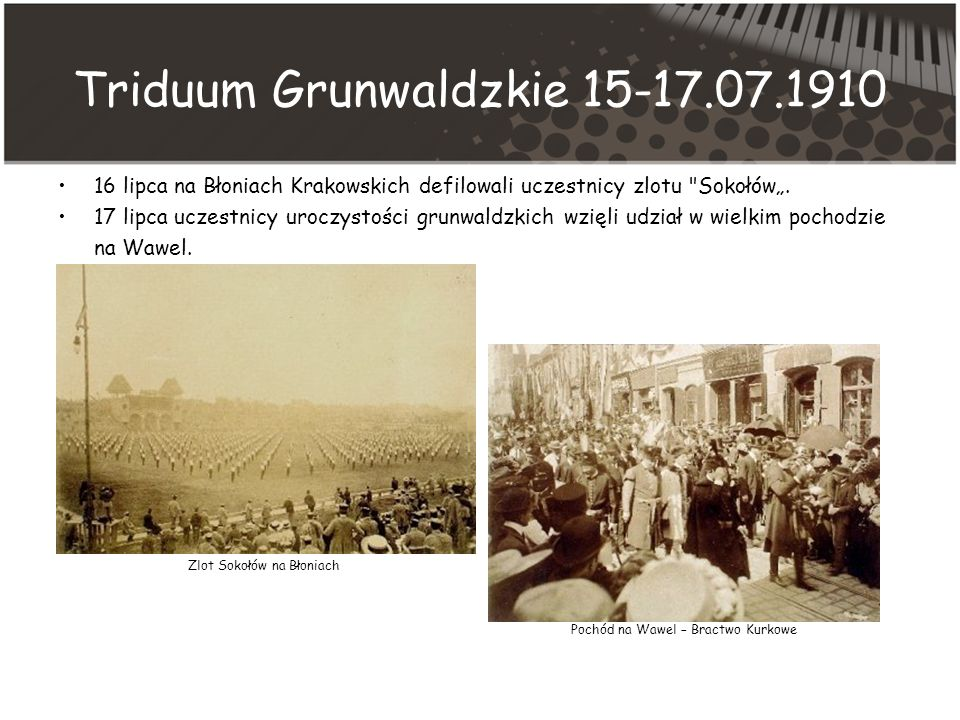 Triduum Grunwaldzkie 15-17.07.1910 16 lipca na Błoniach Krakowskich defilowali uczestnicy zlotu Sokołów.