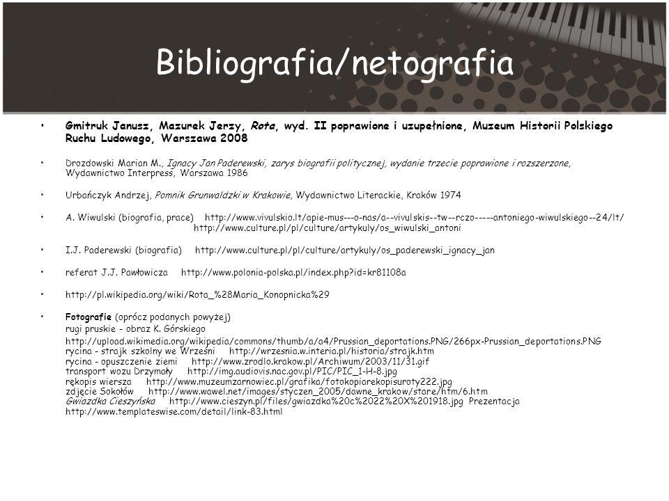 Bibliografia/netografia Gmitruk Janusz, Mazurek Jerzy, Rota, wyd.