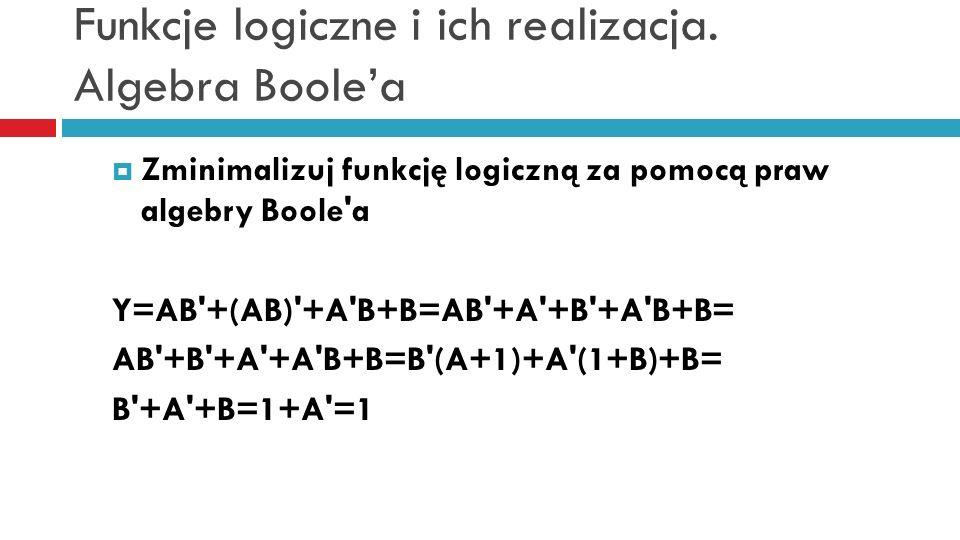 Funkcje logiczne i ich realizacja. Algebra Boolea Zminimalizuj funkcję logiczną za pomocą praw algebry Boole'a Y=AB'+(AB)'+A'B+B=AB'+A'+B'+A'B+B= AB'+