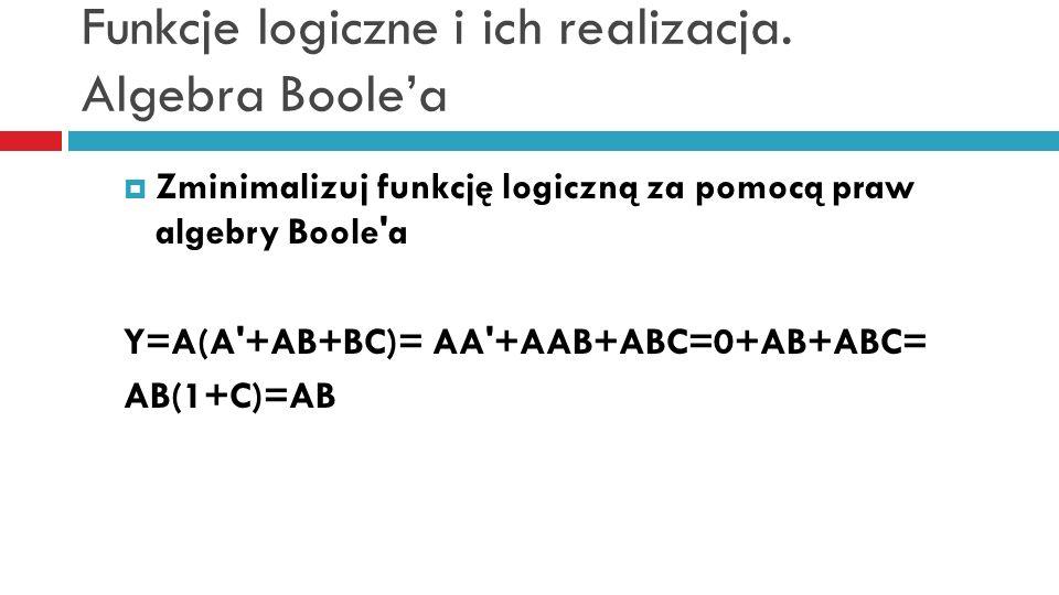 Funkcje logiczne i ich realizacja. Algebra Boolea Zminimalizuj funkcję logiczną za pomocą praw algebry Boole'a Y=A(A'+AB+BC)= AA'+AAB+ABC=0+AB+ABC= AB