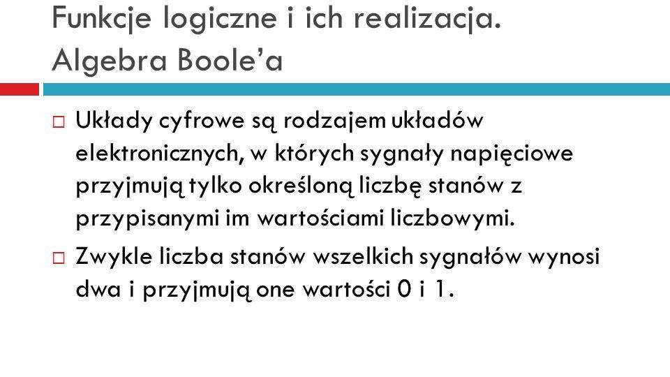 Funkcje logiczne i ich realizacja. Algebra Boolea Układy cyfrowe są rodzajem układów elektronicznych, w których sygnały napięciowe przyjmują tylko okr