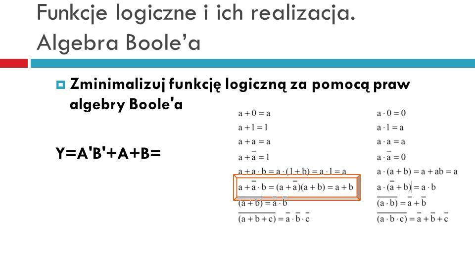 Funkcje logiczne i ich realizacja. Algebra Boolea Zminimalizuj funkcję logiczną za pomocą praw algebry Boole'a Y=A'B'+A+B=