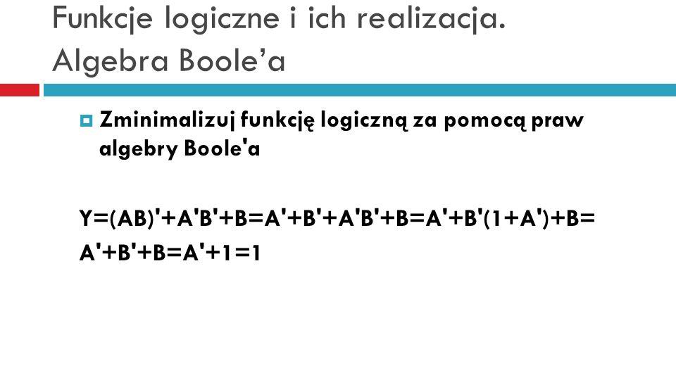 Funkcje logiczne i ich realizacja. Algebra Boolea Zminimalizuj funkcję logiczną za pomocą praw algebry Boole'a Y=(AB)'+A'B'+B=A'+B'+A'B'+B=A'+B'(1+A')