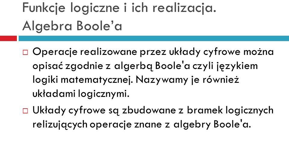 Funkcje logiczne i ich realizacja. Algebra Boolea Operacje realizowane przez układy cyfrowe można opisać zgodnie z algerbą Boole'a czyli językiem logi