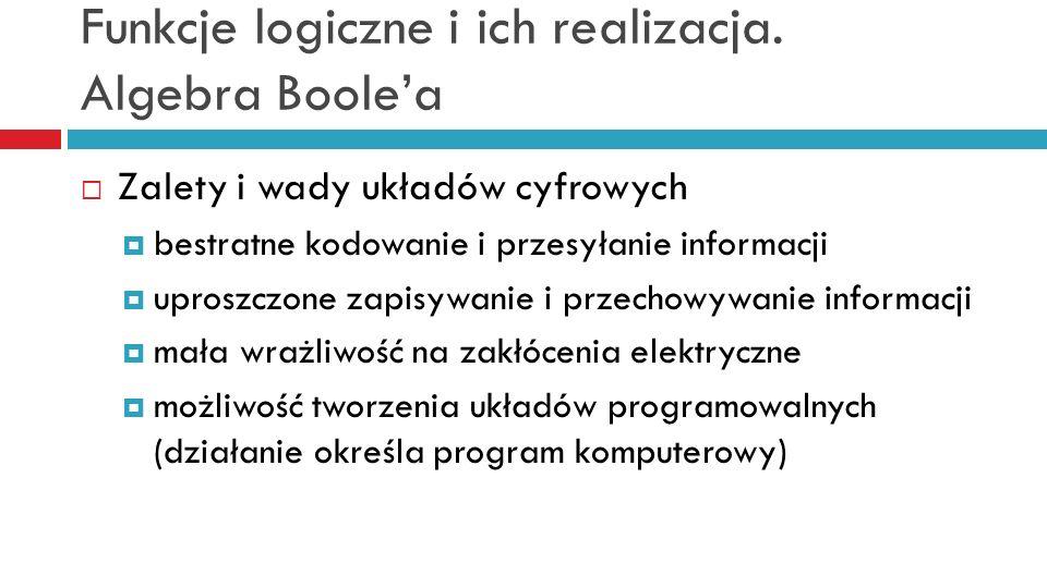 Funkcje logiczne i ich realizacja. Algebra Boolea Zalety i wady układów cyfrowych bestratne kodowanie i przesyłanie informacji uproszczone zapisywanie