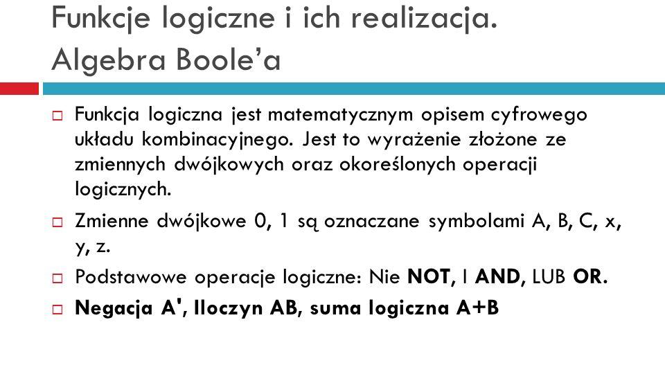 Funkcje logiczne i ich realizacja. Algebra Boolea Funkcja logiczna jest matematycznym opisem cyfrowego układu kombinacyjnego. Jest to wyrażenie złożon