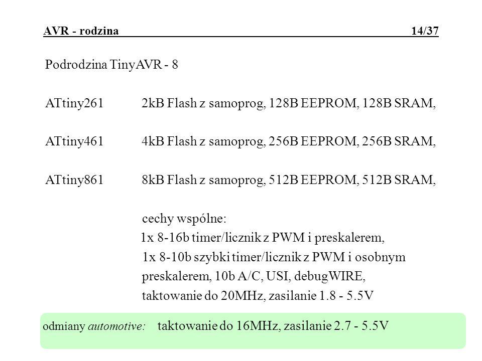 automotive AVR - rodzina 15/37 Podrodzina MegaAVR - 1 ATmega484kB Flash z samoprog., 512B SRAM, 256B EEPROM, ATmega888kB Flash z samoprog., 1kB SRAM, 512B EEPROM, ATmega16816kB Flash z samoprog., 1kB SRAM, 512B EEPROM, ATmega32832kB Flash z samoprog., 2kB SRAM, 1kB EEPROM, technologia picopower cechy wspólne: 8 kan 10b A/C, debugWIRE, taktowanie do 20MHz