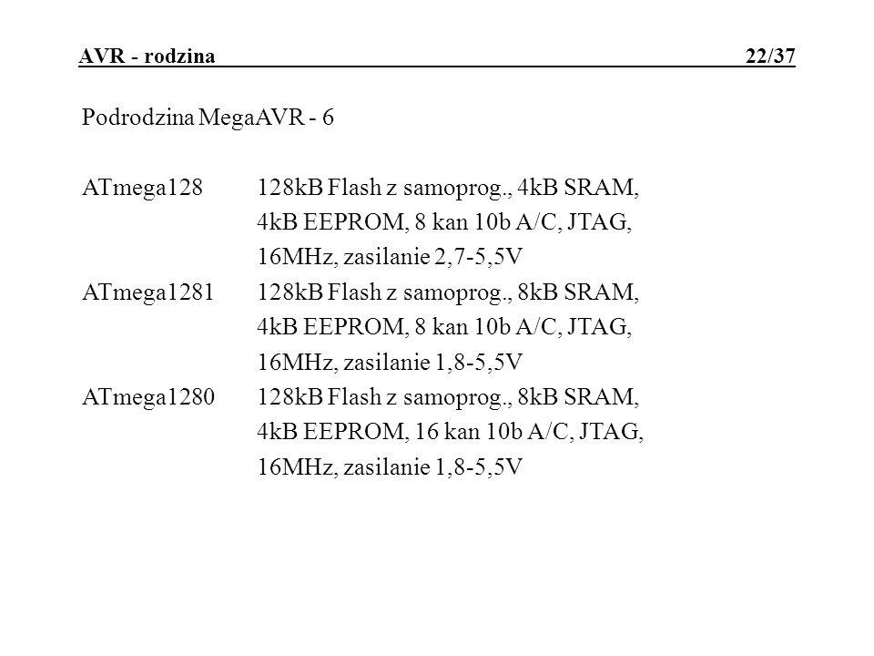 AVR - rodzina 22/37 Podrodzina MegaAVR - 6 ATmega128128kB Flash z samoprog., 4kB SRAM, 4kB EEPROM, 8 kan 10b A/C, JTAG, 16MHz, zasilanie 2,7-5,5V ATmega1281128kB Flash z samoprog., 8kB SRAM, 4kB EEPROM, 8 kan 10b A/C, JTAG, 16MHz, zasilanie 1,8-5,5V ATmega1280128kB Flash z samoprog., 8kB SRAM, 4kB EEPROM, 16 kan 10b A/C, JTAG, 16MHz, zasilanie 1,8-5,5V