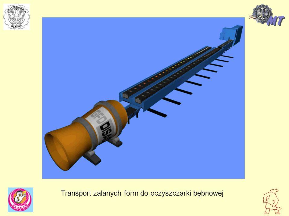 Transport zalanych form do oczyszczarki bębnowej