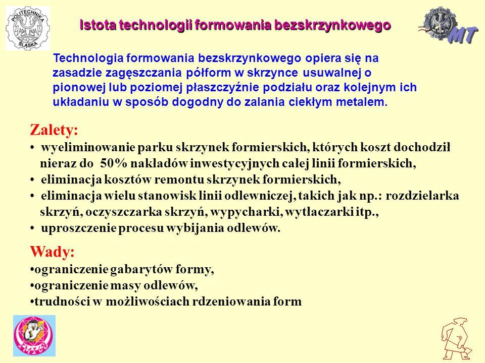 PRODUCENCI - DISA GEORG FISCHER + GF+ - Europa - HAFLINGER - Niemcy - HUNTER - USA - LORAMENDI - Włochy PODZIAŁ LINII FORMOWANIA BEZSKRZYNKOWEGO - z pionową płaszczyzną podziału formy - z poziomą płaszczyzną podziału formy ZAGĘSZCZANIE MASY - wstrzeliwanie masy do komory formowania - prasowanie pod wysokimi naciskami (0,5 - 5 MPa)