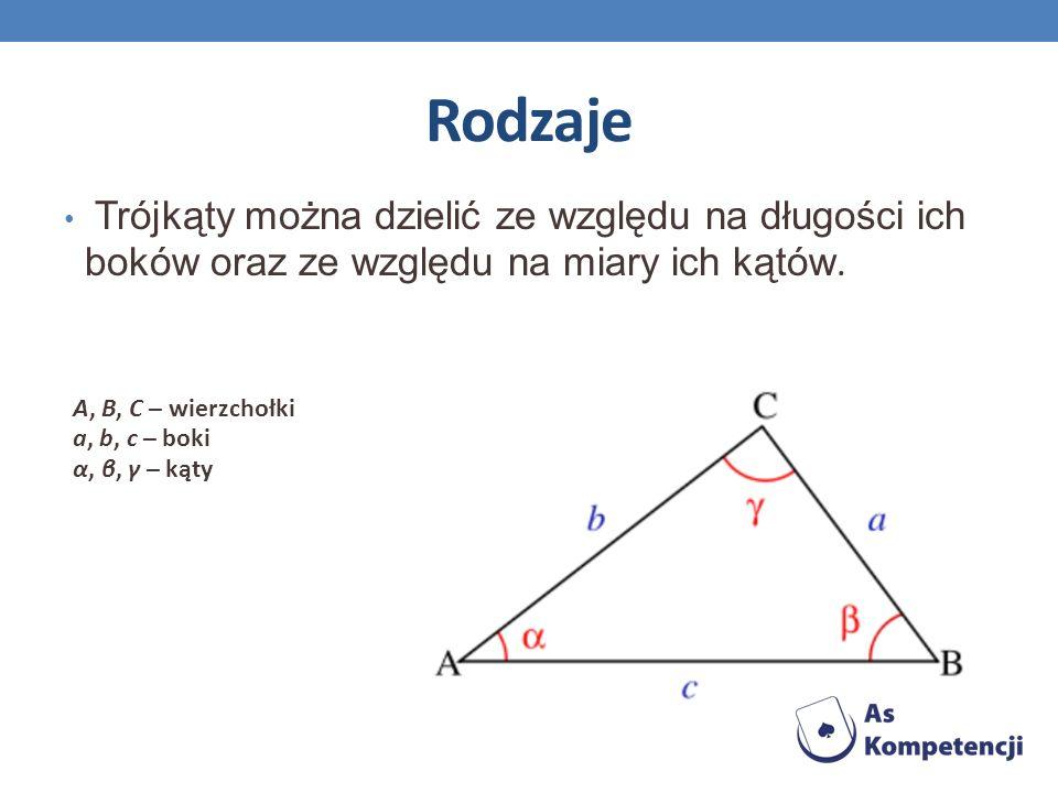 Podział ze względu na boki trójkąt różnoboczny ma każdy bok innej długości; trójkąt równoramienny ma przynajmniej dwa boki tej samej długości; trójkąt równoboczny ma wszystkie trzy boki tej samej długości; w tym przypadku też wszystkie jego kąty są tej samej miary różnoboczny równoramienny równoboczny
