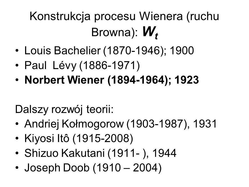 Konstrukcja procesu Wienera (ruchu Browna): W t Louis Bachelier (1870-1946); 1900 Paul Lévy (1886-1971) Norbert Wiener (1894-1964); 1923 Dalszy rozwój teorii: Andriej Kołmogorow (1903-1987), 1931 Kiyosi Itô (1915-2008) Shizuo Kakutani (1911- ), 1944 Joseph Doob (1910 – 2004)