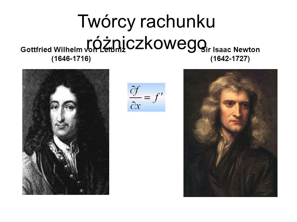 Gottfried Wilhelm von Leibniz (1646-1716) Sir Isaac Newton (1642-1727) Twórcy rachunku różniczkowego