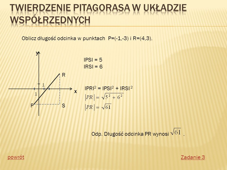 R P y x 1 1 S Oblicz długość odcinka w punktach P=(-1,-3) i R=(4,3). IPSI = 5 IRSI = 6 IPRI 2 = IPSI 2 + IRSI 2 Odp. Długość odcinka PR wynosi. Zadani