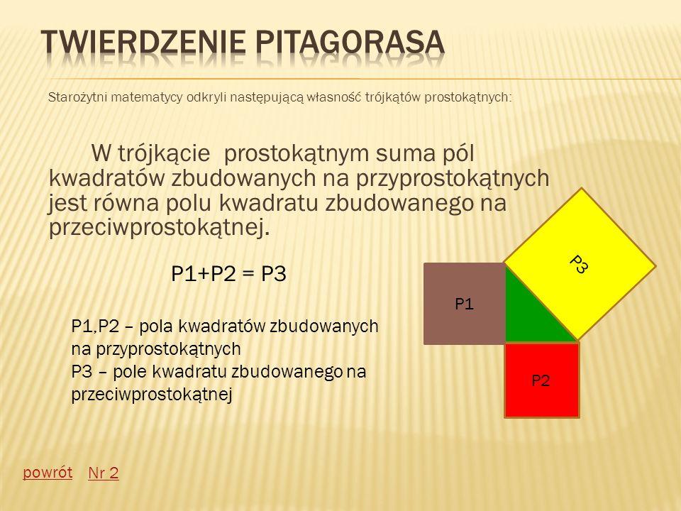Starożytni matematycy odkryli następującą własność trójkątów prostokątnych: W trójkącie prostokątnym suma pól kwadratów zbudowanych na przyprostokątny