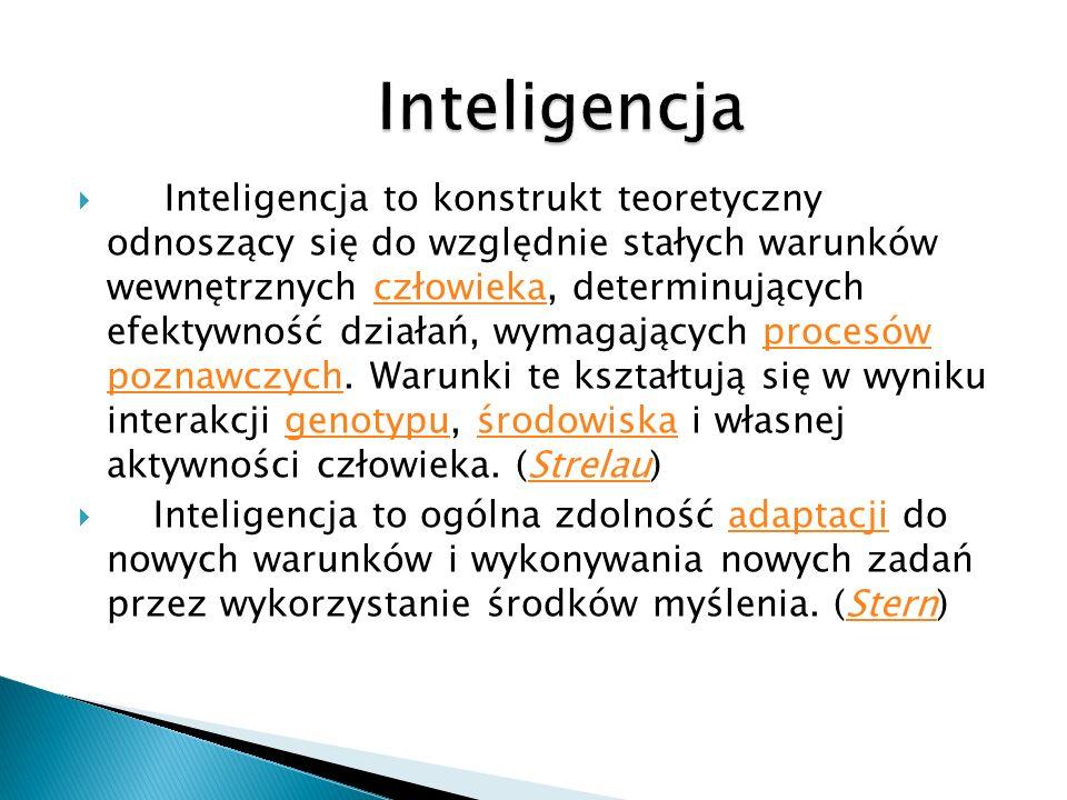 Inteligencja to konstrukt teoretyczny odnoszący się do względnie stałych warunków wewnętrznych człowieka, determinujących efektywność działań, wymagających procesów poznawczych.