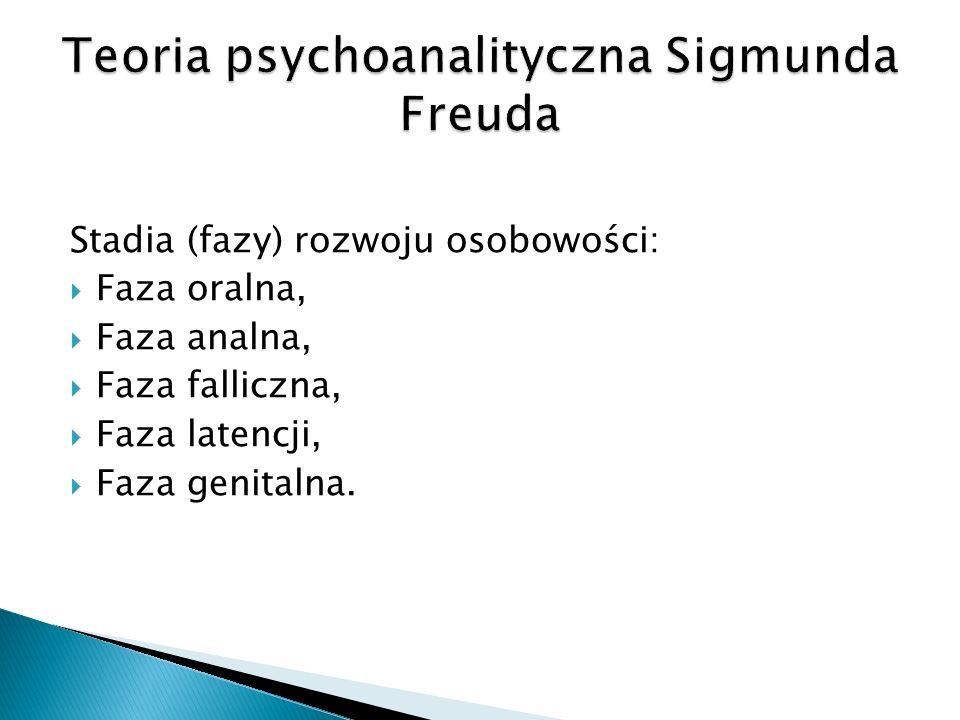 Stadia (fazy) rozwoju osobowości: Faza oralna, Faza analna, Faza falliczna, Faza latencji, Faza genitalna.