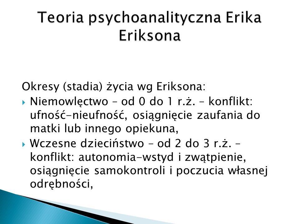 Okresy (stadia) życia wg Eriksona: Niemowlęctwo – od 0 do 1 r.ż.