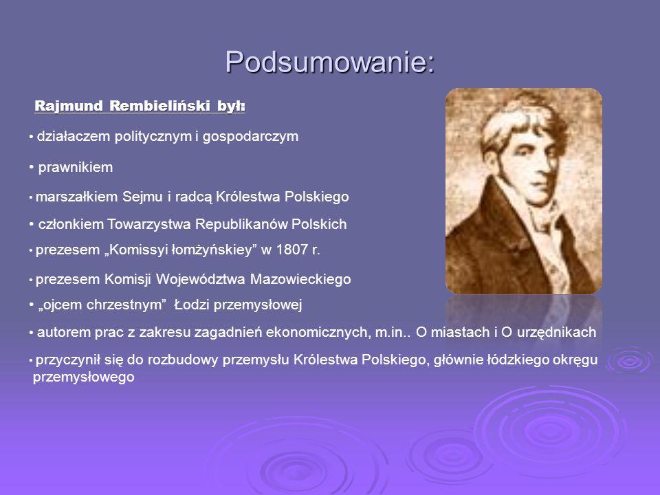 Podstawy powstania osady lniano-bawe ł nianej W 1823r. Rajmund Rembieliński wystąpił z koncepcją założenia w Łodzi osady płócienniczej, w której równo