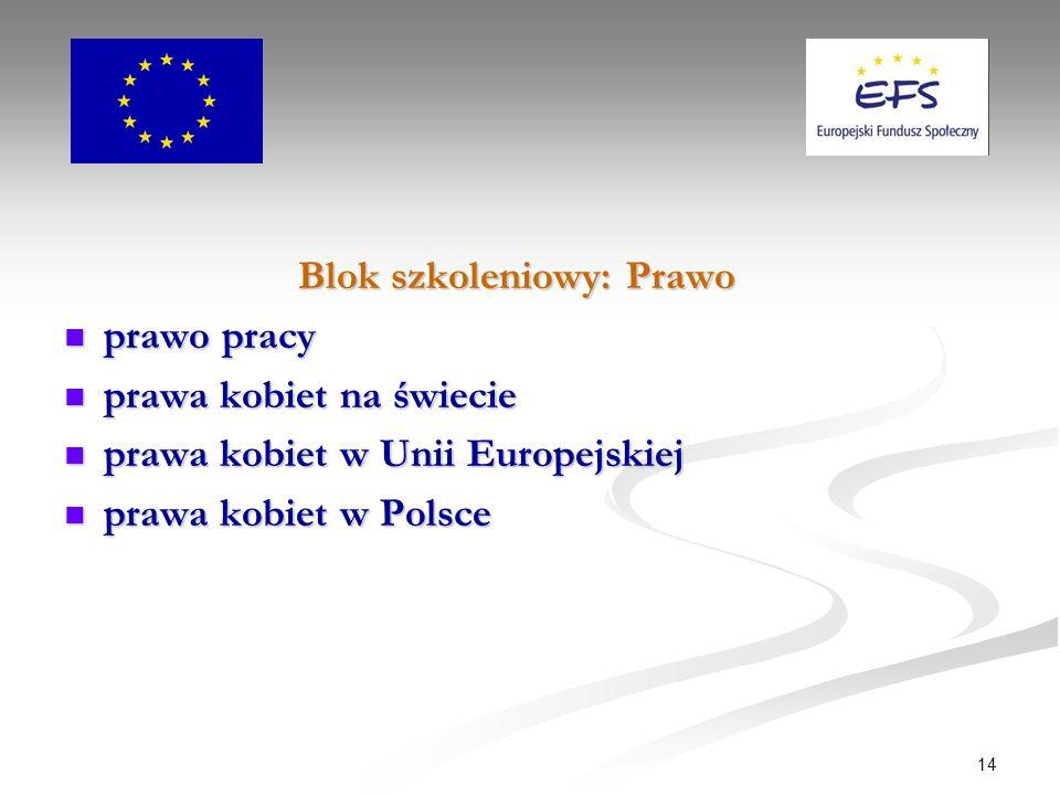 14 Blok szkoleniowy: Prawo prawo pracy prawo pracy prawa kobiet na świecie prawa kobiet na świecie prawa kobiet w Unii Europejskiej prawa kobiet w Unii Europejskiej prawa kobiet w Polsce prawa kobiet w Polsce