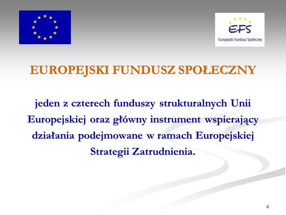 4 EUROPEJSKI FUNDUSZ SPOŁECZNY jeden z czterech funduszy strukturalnych Unii Europejskiej oraz główny instrument wspierający działania podejmowane w ramach Europejskiej Strategii Zatrudnienia.