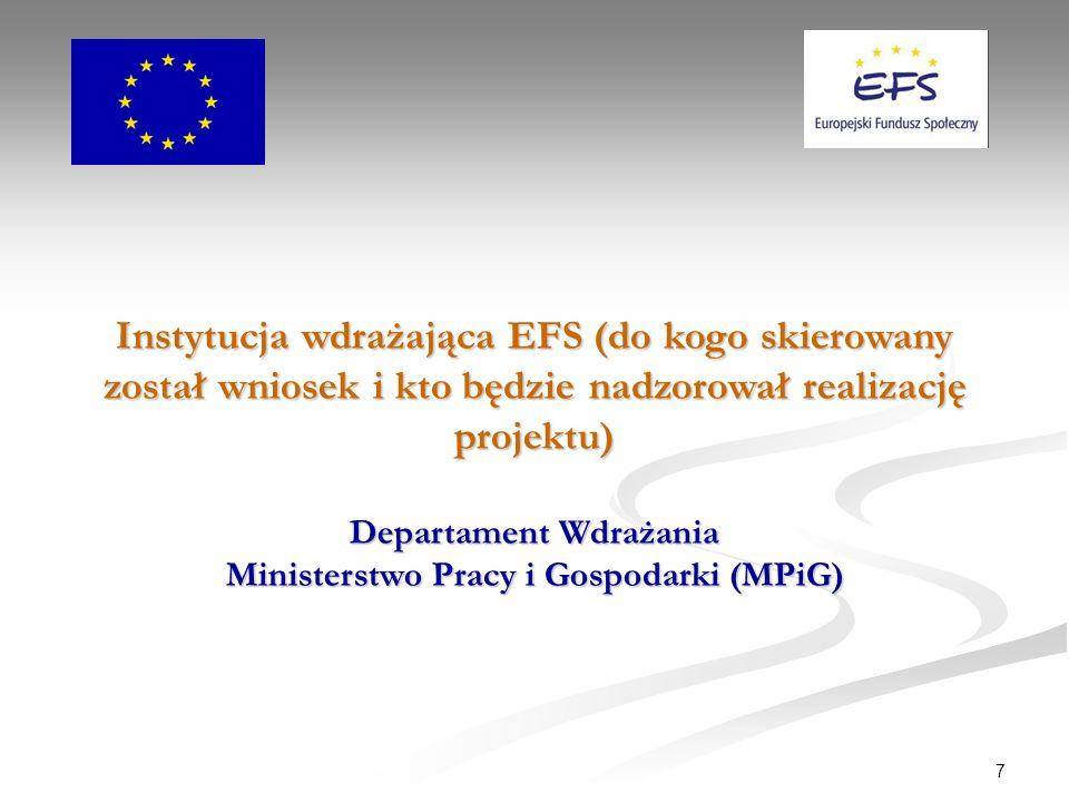 7 Instytucja wdrażająca EFS (do kogo skierowany został wniosek i kto będzie nadzorował realizację projektu) Departament Wdrażania Ministerstwo Pracy i Gospodarki (MPiG)