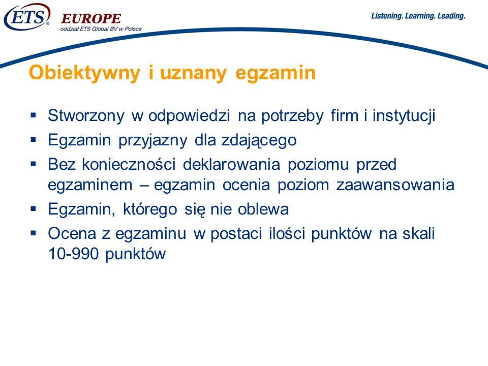 > Łatwość organizacji i atrakcyjna cena Egzamin organizowany na życzenie, dla dowolnie licznych grup zdających Sesje egzaminacyjne organizowane przez akredytowane ośrodki w całej Polsce Atrakcyjna cena: 300 złotych za egzamin + 20 złotych za certyfikat (studenci i osoby poszukujące pracy) 355 złotych za egzamin + 20 złotych za certyfikat (osoby pracujące)