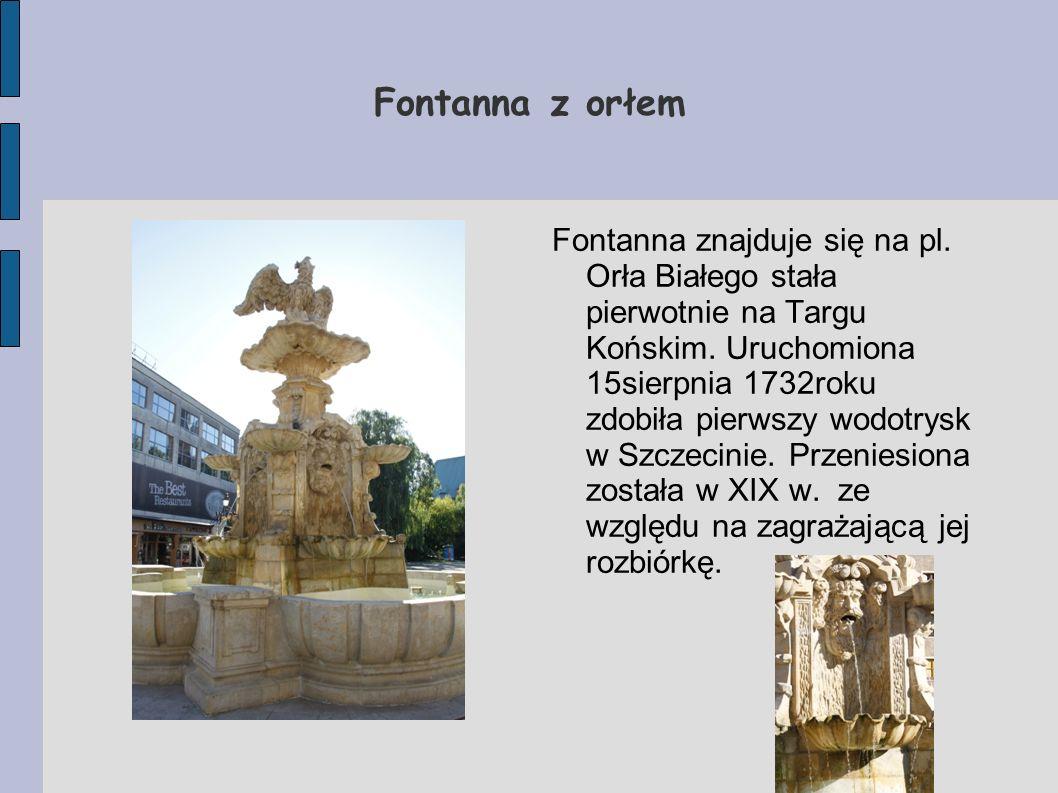 Fontanna z orłem Fontanna znajduje się na pl. Orła Białego stała pierwotnie na Targu Końskim. Uruchomiona 15sierpnia 1732roku zdobiła pierwszy wodotry