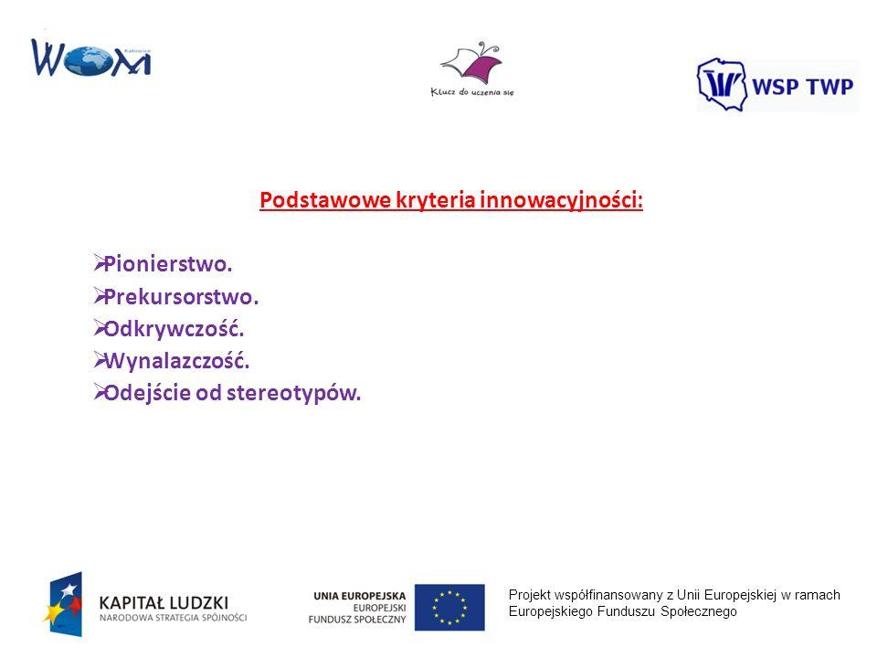 Projekt współfinansowany z Unii Europejskiej w ramach Europejskiego Funduszu Społecznego Podstawowe kryteria innowacyjności: Pionierstwo. Prekursorstw