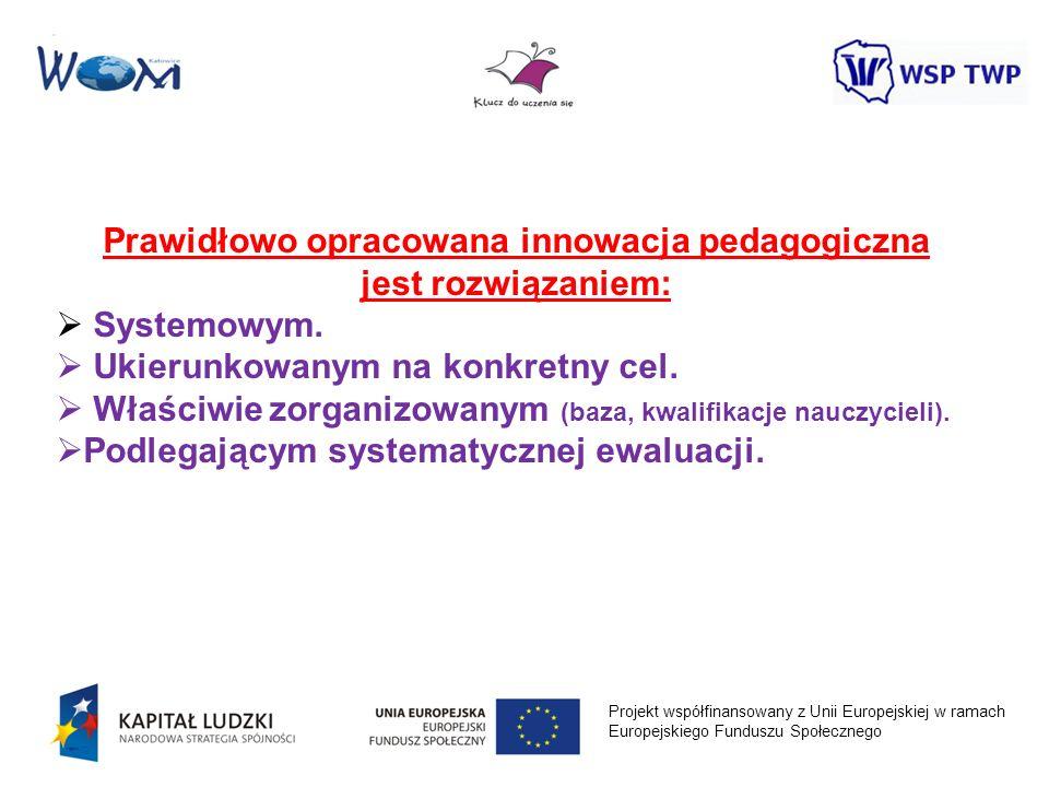 Projekt współfinansowany z Unii Europejskiej w ramach Europejskiego Funduszu Społecznego Prawidłowo opracowana innowacja pedagogiczna jest rozwiązanie