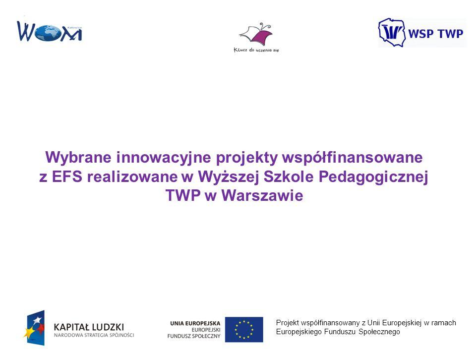 Projekt współfinansowany z Unii Europejskiej w ramach Europejskiego Funduszu Społecznego Wybrane innowacyjne projekty współfinansowane z EFS realizowa