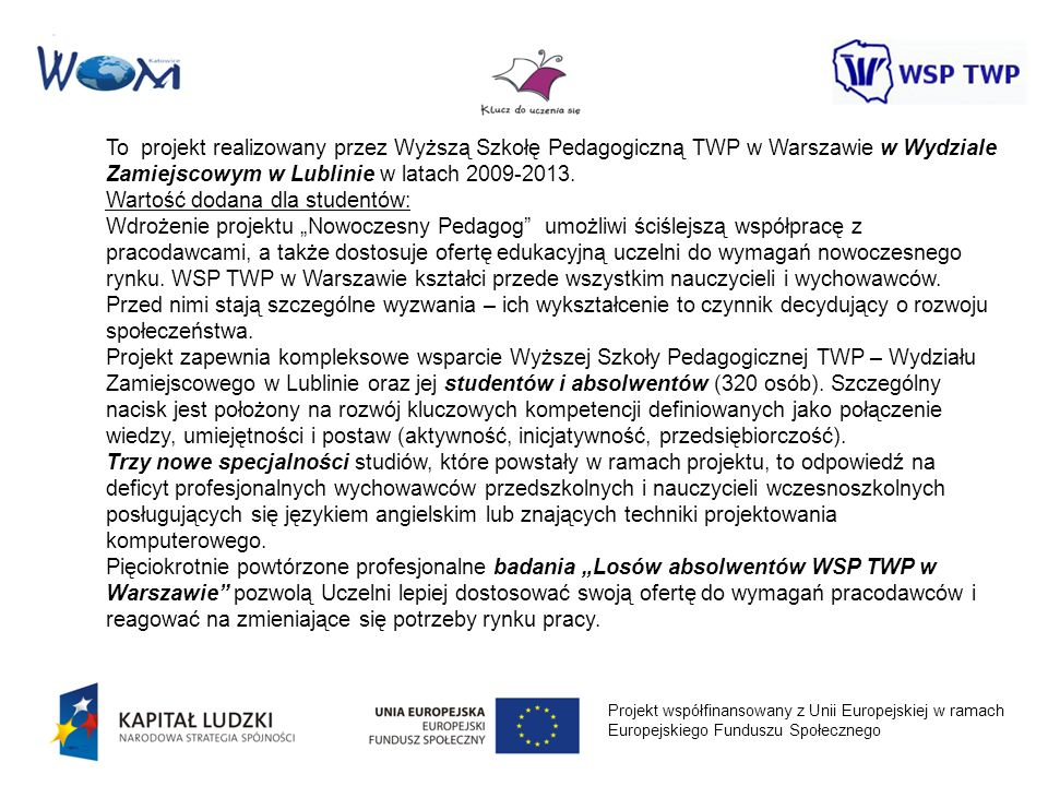 Projekt współfinansowany z Unii Europejskiej w ramach Europejskiego Funduszu Społecznego To projekt realizowany przez Wyższą Szkołę Pedagogiczną TWP w