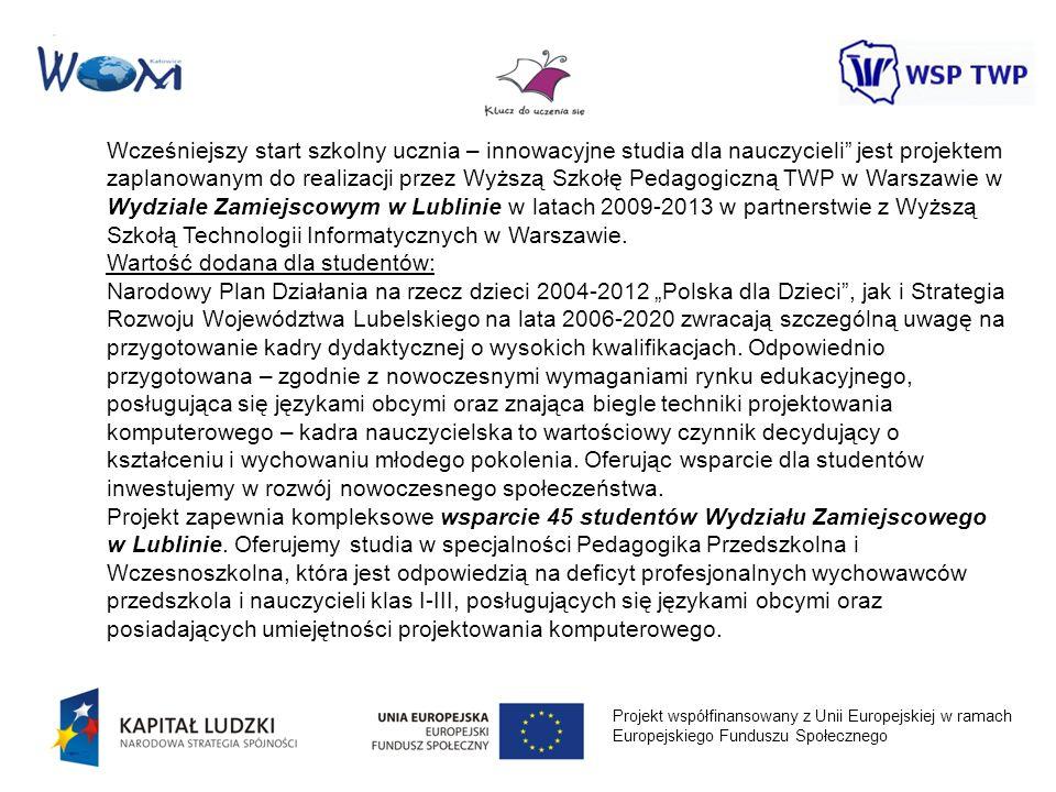Projekt współfinansowany z Unii Europejskiej w ramach Europejskiego Funduszu Społecznego Wcześniejszy start szkolny ucznia – innowacyjne studia dla na