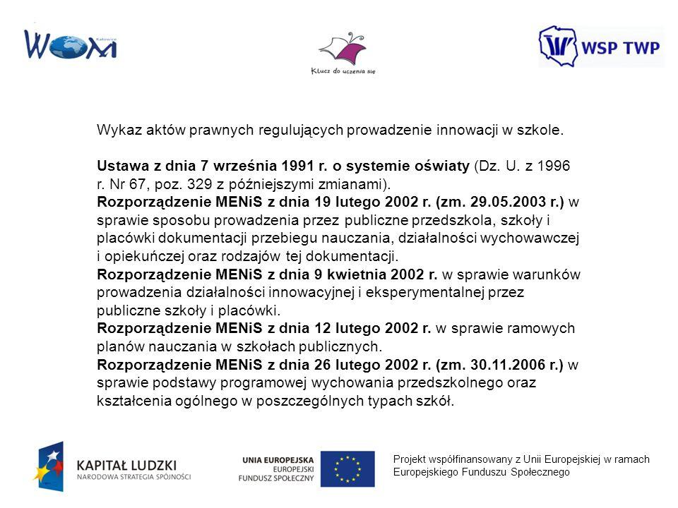 Projekt współfinansowany z Unii Europejskiej w ramach Europejskiego Funduszu Społecznego Wykaz aktów prawnych regulujących prowadzenie innowacji w szk