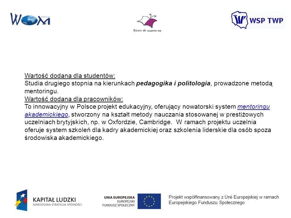 Projekt współfinansowany z Unii Europejskiej w ramach Europejskiego Funduszu Społecznego Wartość dodana dla studentów: Studia drugiego stopnia na kier