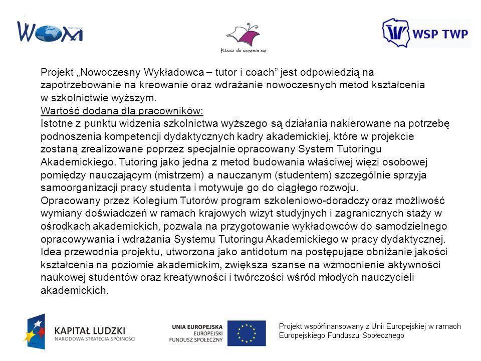 Projekt współfinansowany z Unii Europejskiej w ramach Europejskiego Funduszu Społecznego Projekt Nowoczesny Wykładowca – tutor i coach jest odpowiedzi