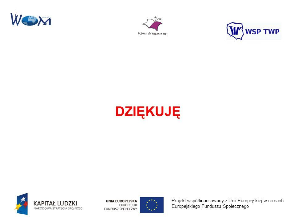 Projekt współfinansowany z Unii Europejskiej w ramach Europejskiego Funduszu Społecznego DZIĘKUJĘ