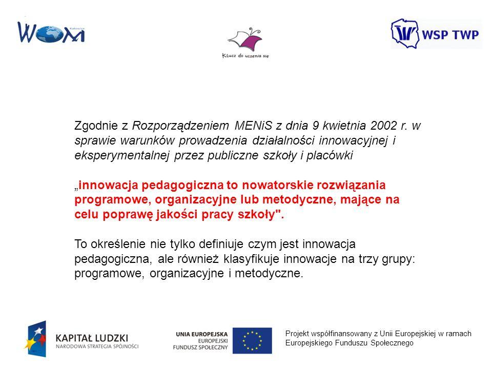 Projekt współfinansowany z Unii Europejskiej w ramach Europejskiego Funduszu Społecznego Zgodnie z Rozporządzeniem MENiS z dnia 9 kwietnia 2002 r. w s