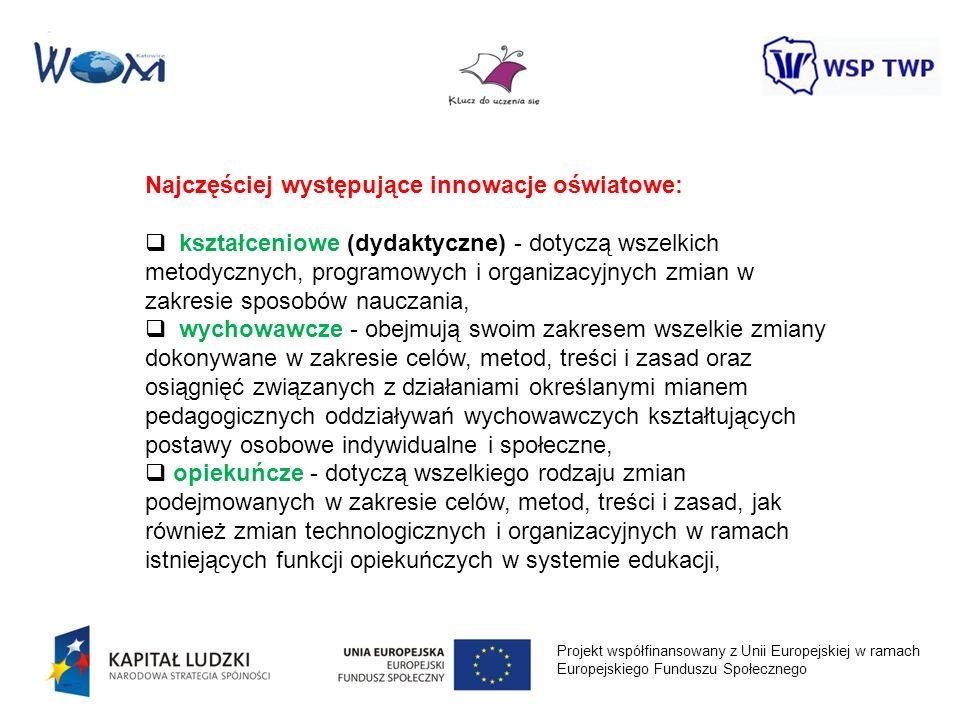 Projekt współfinansowany z Unii Europejskiej w ramach Europejskiego Funduszu Społecznego Najczęściej występujące innowacje oświatowe: kształceniowe (d