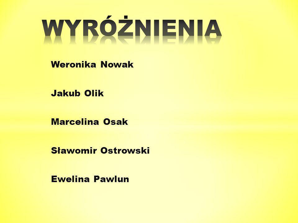 Weronika Nowak Jakub Olik Marcelina Osak Sławomir Ostrowski Ewelina Pawlun