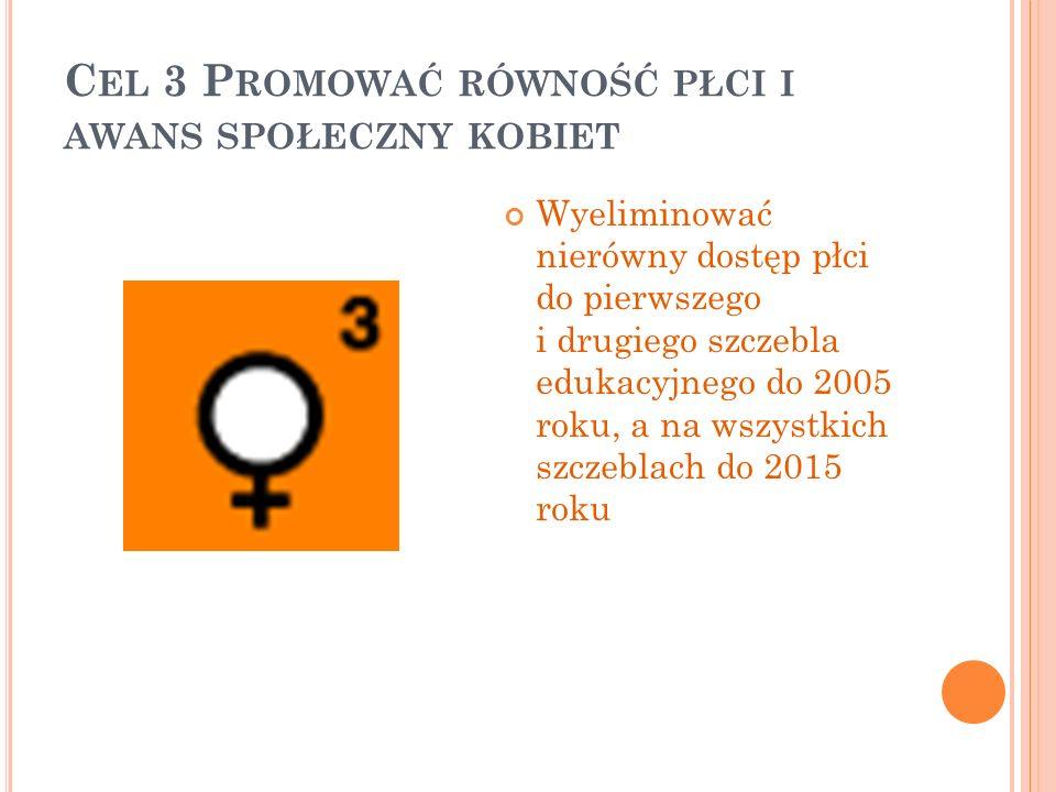 C EL 3 P ROMOWAĆ RÓWNOŚĆ PŁCI I AWANS SPOŁECZNY KOBIET Wyeliminować nierówny dostęp płci do pierwszego i drugiego szczebla edukacyjnego do 2005 roku,