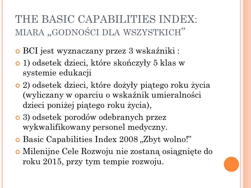 THE BASIC CAPABILITIES INDEX: MIARA GODNOŚCI DLA WSZYSTKICH BCI jest wyznaczany przez 3 wskaźniki : 1) odsetek dzieci, które skończyły 5 klas w system