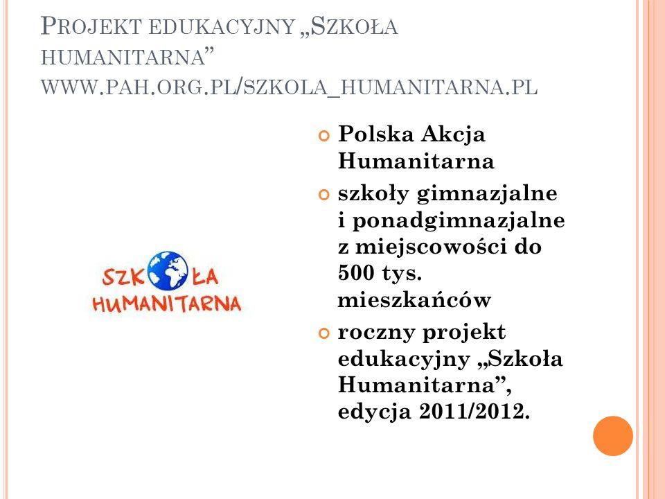 P ROJEKT EDUKACYJNY S ZKOŁA HUMANITARNA WWW. PAH. ORG. PL / SZKOLA _ HUMANITARNA. PL Polska Akcja Humanitarna szkoły gimnazjalne i ponadgimnazjalne z